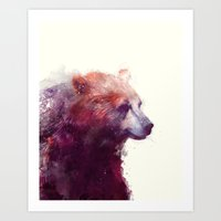 watercolor Art Prints featuring Bear // Calm by Amy Hamilton