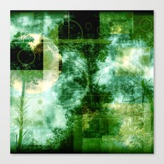 forest memories in green with Abstract shapes cube Canvas Print