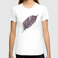feather T-shirts featuring FEATHER by Monika Strigel
