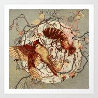 brain Art Prints featuring Honey & Sorrow (grey) by Teagan White