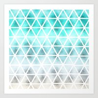 Teal blue ombre geometric triangles pattern  Art Print
