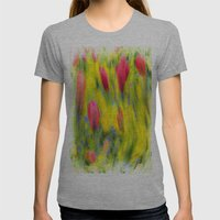 English Summer Flowers Pastel Womens Fitted Tee Athletic Grey SMALL