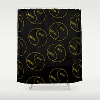 Rich / Boring (Black) Shower Curtain