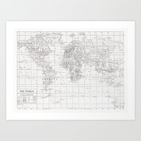 World Map ~ White On Whi… Art Print