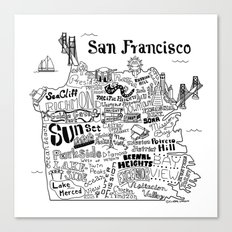 San Francisco Map Illust… Canvas Print