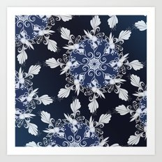 Damask blue Art Print
