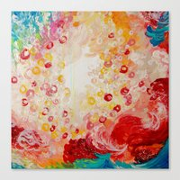 SUMMER DAYS Feminine Pretty Pink Red Peach Abstract Acrylic Painting Whismical Nature Color Splash Canvas Print