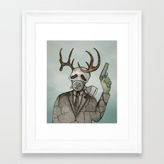 Collage Love: Apocalyptic Deer Man Framed Art Print