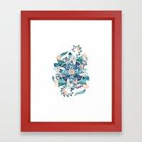 Modern Coral Blue Waterc… Framed Art Print