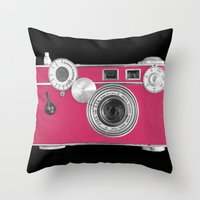 Pink Fashion Camera Throw Pillow