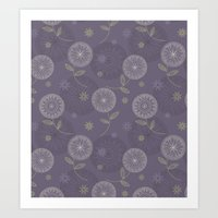 Folky Lace Flowers Art Print