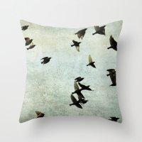 Birds Let's fly Throw Pillow