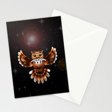 Surreal Owl Metallic Flying on the Night 3d Stationery Cards