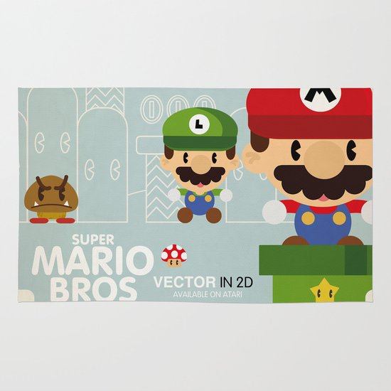 mario bros 2 fan art Area & Throw Rug