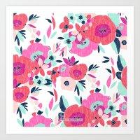 Janis Poppy Ikat Floral  Art Print