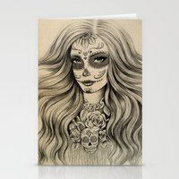 sugar skull Stationery Cards featuring Sugar Skull by Vivian Lau