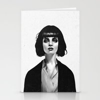 happy Stationery Cards featuring Mrs Mia Wallace by Ruben Ireland