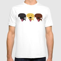 Labrador dogs black yellow chocolate 2 SMALL Mens Fitted Tee White