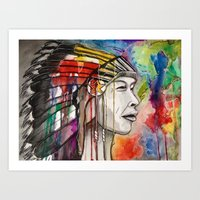 native american Art Prints featuring Native American by Hannah Brownfield Camacho