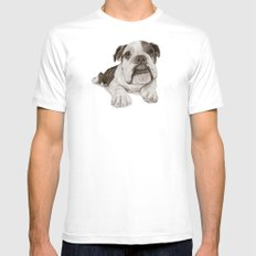 A Bulldog Puppy :: Brindle  SMALL Mens Fitted Tee White