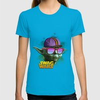 Yoda Swag Womens Fitted Tee Teal SMALL