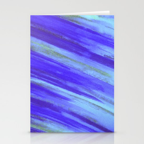 WASHED UP - Bold Blue Stripes Abstract Watercolor Painting Colorful Fun Surfer Ocean Waves Stationery Card