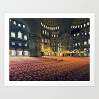 inside the Blue Mosque in istanbul Art Print