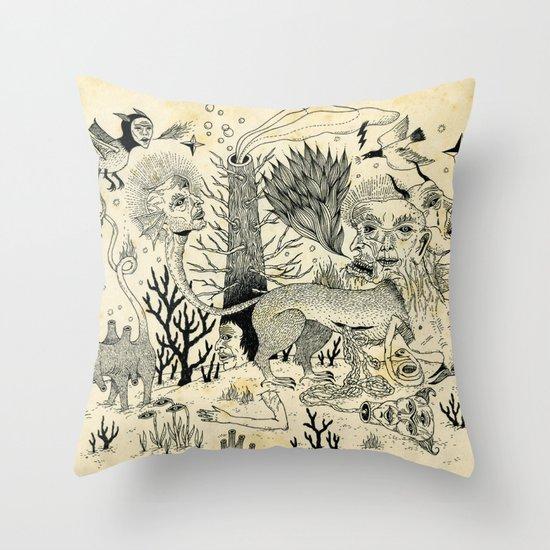 Grotesque Flora and Fauna Throw Pillow