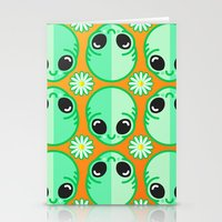 Happy Alien and Daisy Nineties Grunge Pattern Stationery Cards