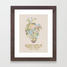 A Traveler's Heart + Quote Framed Art Print