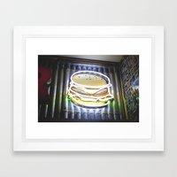 Doble Neon Cheeseburger Framed Art Print