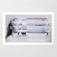 Glitch Face Melt Art Print