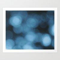 Blue Bokeh Art Print