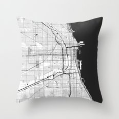 Chicago Map Gray Throw Pillow