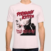 Pirahna Kitten Mens Fitted Tee Light Pink SMALL