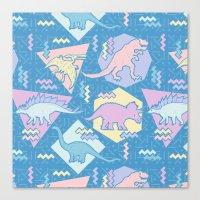 Nineties Dinosaurs Pattern  - Pastel version Canvas Print
