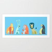 5 Funny Animals Art Print
