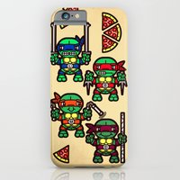 iPhone & iPod Case featuring Teenage Mutant Ninja Turtles Pizza Party by chobopop