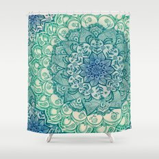 Emerald Doodle Shower Curtain