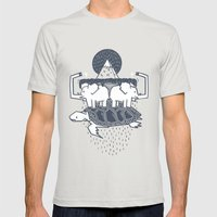The Flat Earth Mens Fitted Tee Silver SMALL