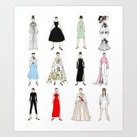 Outfits Of Audrey Fashio… Art Print