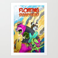 Floating BunnyHead Weste… Art Print