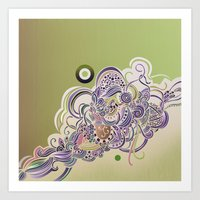Detailed diagonal tangle Art Print