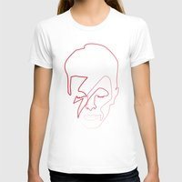 One line Aladdin Sane Womens Fitted Tee White SMALL