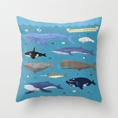 Whale Species Throw Pillow