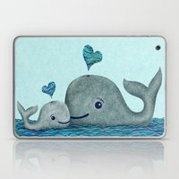 Whale Mom and Baby with Hearts Laptop & iPad Skin