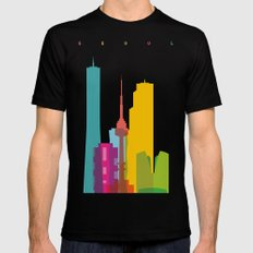 Shapes of Seoul accurate to scale Black SMALL Mens Fitted Tee