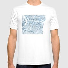 Philadelphia City Map SMALL Mens Fitted Tee White