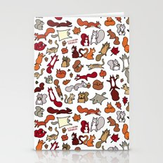 Squirrels In Fall Doodle Stationery Cards