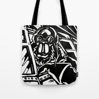 Monkey Pilot Black & Whi… Tote Bag